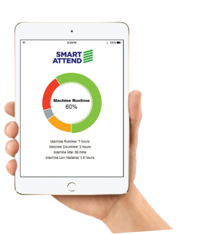 Smart Attend Production monitoring software on a handheld mobile device