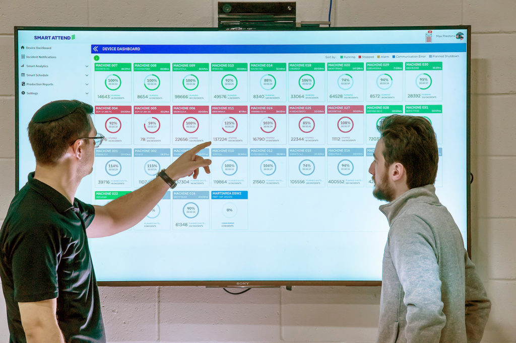 Smart Attend staff analyzing data intelligence from the software dashboard