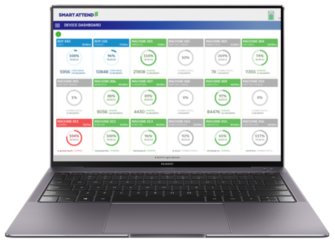 Smart Attend Production monitoring dashboard on laptop
